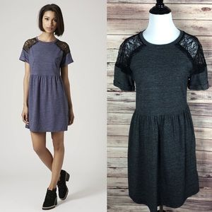 Topshop Grey Lace Insert Flippy Mini Dress